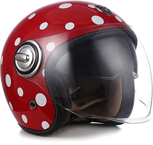 Soxon SP-888 Motorrad-Helm Roller-Helm, ECE Sonnenvisier Schnellverschluss SlimShell Tasche, L (59-60cm), Imola Beige
