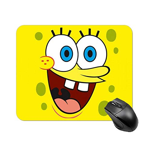 Mouse Pad, Cute Mouse Pad with Design, Non-Slip Rubber Base Mousepad with Stitched Edge, Waterproof Office Mouse Pad, Small Size 22 X 18 X 0.3cm (Sponge-Bob)