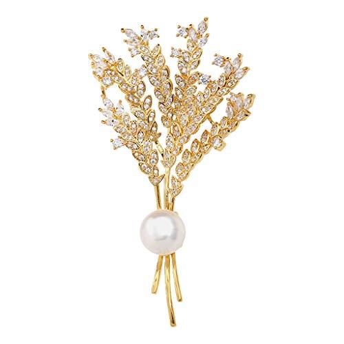 zxb-shop Broche Las Orejas de Trigo Broche con broches y alfileres de Las Mujeres de la joyería de Agua Dulce Perlas de Cristal Broches para Mujer