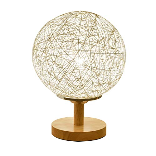 XLOO Traditional Table Lamps,Bedside Table Lamp,Lantern,3W LED,Grass And Rattan Weaving,Wooden Base,Living Room,Bedroom,Bedside Lighting