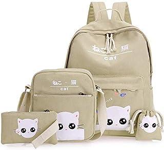 4Pcs/set women backpack schoolbag korean rucksack lovely school bags for teenager girls student bag set canvas backpacks mm