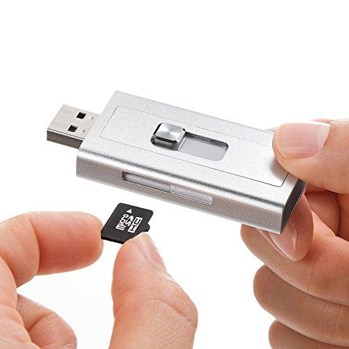 『サンワダイレクト iPhone iPad 対応 microSDカードリーダー Lightning / USB MFi認証 400-ADRIP08S』の4枚目の画像