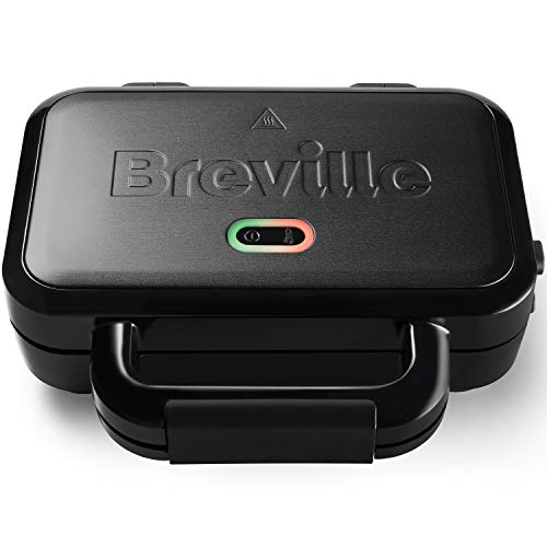 Breville Ultimate-Sandwichmaker mit extra tiefen Platten | Sandwichtoaster zum Toasten von 2Scheiben | abnehmbare, haftfreie Platten | Edelstahl | schwarz [VST082X]