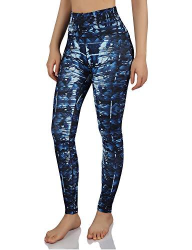 ODODOS Women's High Waisted Pattern Leggings, Tummy Control, Workout Yoga Pants with Hidden Pocket,Indigo,Small