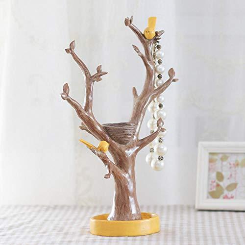 TOORY mural Estante de exhibición de Almacenamiento hogar decoración Europea Pareja pájaro árbol Estante de joyería artesanía de Resina-Acacia Jewelry Stand-Dihuang