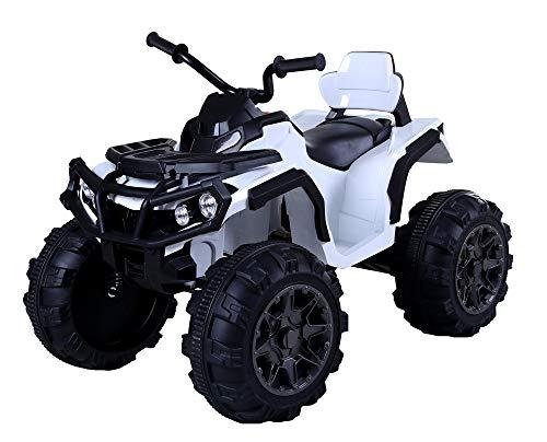 Toyscar Super Quad Lander Elettrico per Bambini 12V Doppio Motore Full Optional con Ammortozzatori Bianco con Telecomando