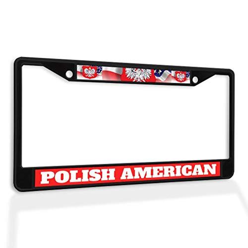 POUDBDH Metal Insert License Plate Frame Polish American Poland Weatherproof Car Accessories Black 2 Holes Solid Insert