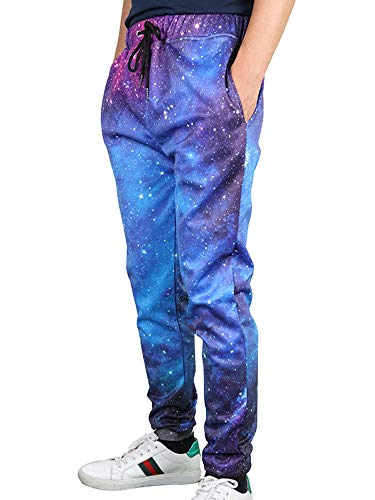 Leapparel Men's Unisex 3D Printed Casual Sports Jogger Pants with Drawstring Galaxy Graphric Baggy Sweatpants (S, Starry Sky)