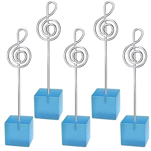 Yootop 5pcs Light Blue Cube Base Music Shaped Note Cilp Memo Photo Holder Card Paper Note for Office and Home