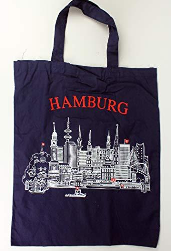 Buddel-Bini Hamburg Stofftasche blau Skyline Tasche