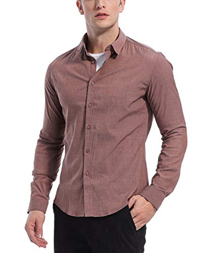 KOGO Men's Dress Shirts Slim Fit Solid Casual Button Down Iron Free Elastic Shirts (S Plus (Shirt Chest 40-41 Inch), Embroidered red)