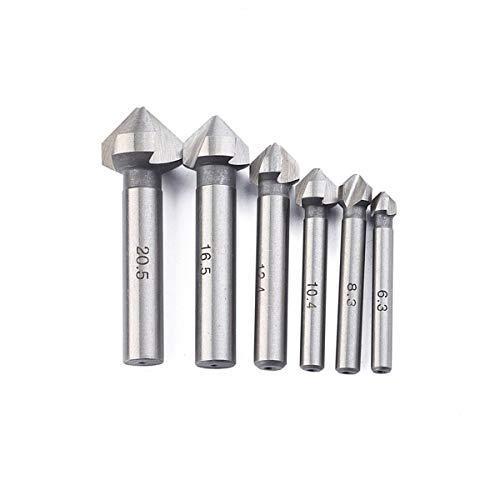 6 PCS Kobalt-Stahl single-end Kegelsenker schrägkantenwerkzeug EntGrößen Werkzeug Set Runde Schaft für Schneiden Löcher in Kunststoff Kupfer Aluminium Teller Isolierung Boards PVC-Bogen