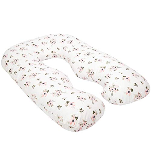 TILLYOU Large Zipper Personalized Pregnancy Pillowcase, 100% Egyptian Cotton Fully Body Maternity Pillow Replacement Cover, Soft Breathable, Fit 55' x 31' U Shaped Pillow, Floral