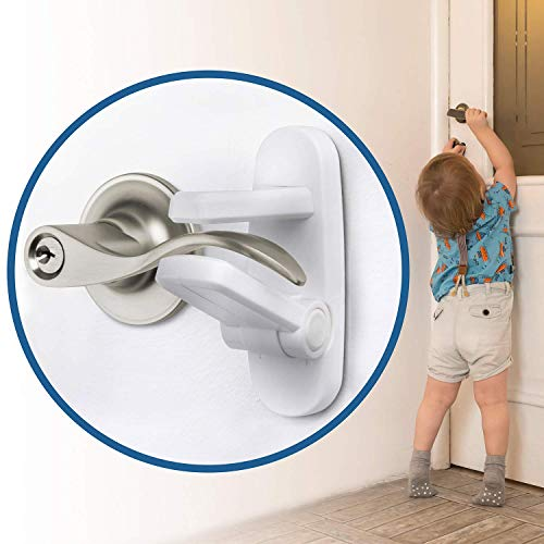 Improved Childproof Door Lever Lock (6 Pack) Prevents Toddlers from Opening Doors. Easy One Hand Operation for Adults. Durable ABS with 3M Adhesive Backing. Simple Install (White, 6-Pack)