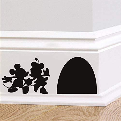 Pegatinas de pared de Disney en blanco y negro para inodoro, diseño de siluetas de hombre y mujer, ratón