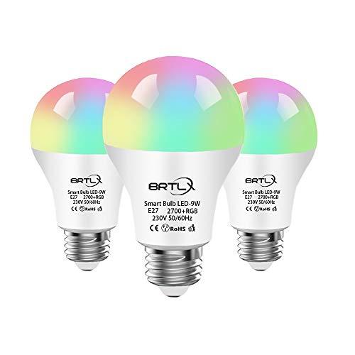 BRTLX Bombilla WiFi Inteligente E27 LED Lámpara9W 800LM RGB Regulable Compatible Amazon Alexa y Google Home Control Remoto por Dispositivos iOS/Android,No Requiere Hub,3Unidad