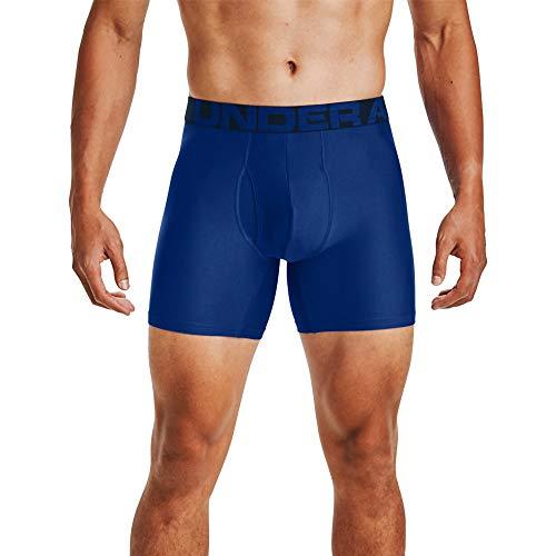 Under Armour Tech 6in 2 Pack, schnelltrocknende Boxershorts, komfortable Unterwäsche mit enganliegendem Schnitt im 2er-Pack Herren, Royal / Academy , L