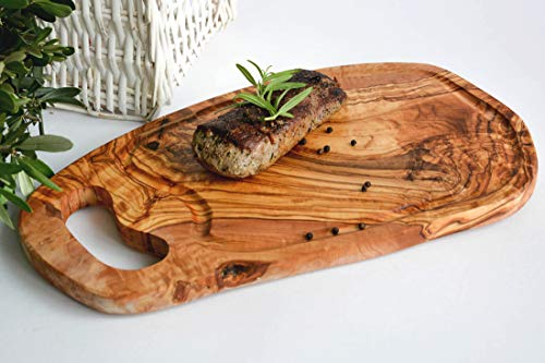 Olivenholzbrett als Steakbrett Verschiedene Größen (40-44 cm)