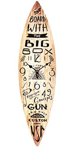 サーフボード ウォールクロック/壁掛け時計「SURF BOARD/ウッド」アロハ・マウイ/インテリア/ハワイ おしゃれ時計 アメリカン雑貨 ハワイアン雑貨 サーフ