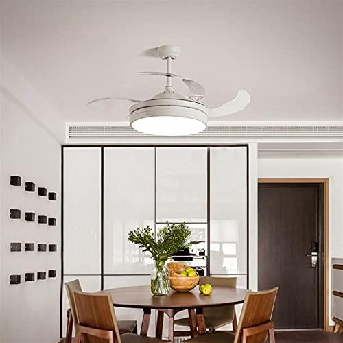 Control remoto Ventilador de techo Luz LED LED 36W Diámetro de atenuación de la escalera 108 * 44cm Sala de estar invisible Salón Dormitorio Silent Fan Light (Color : White)
