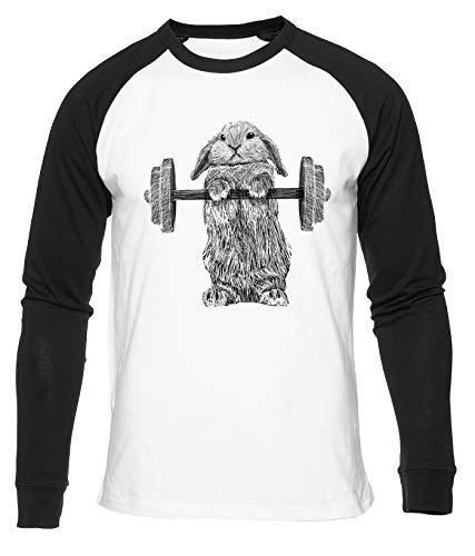 Bollos de Acero Fuerte Conejito Camiseta De Béisbol Hombres Mujeres Unisex Blanco Cuello Redondo Manga Larga Algodon Organico tee Baseball T-Shirt Unisex White L