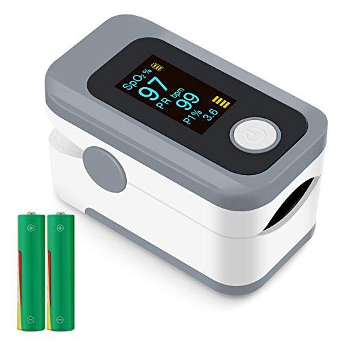 Oxímetro de Pulso, Pulsioximetro de Dedo Profesional, saturacion oxigeno oxímetro con pantalla OLED,oxímetro portátil para adultos de alta precisión (Incluyendo batería)