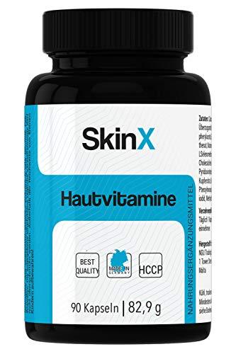 SkinX Haut-Vitamine, Zink Biotin Selen Vitamin A/B2 hochdosiert bio-verfügbar, 90 Haut-Kapseln für Männer und Frauen