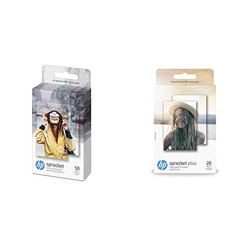 HP Sprocket Fotopapier (50 Blatt, 5 x 7.6 cm, selbstklebende Rückseite) & HP ZINK Fotopapier (20 Blatt, 5.8 x 8.7 cm, selbstklebende Rückseite) für HP Sprocket Plus