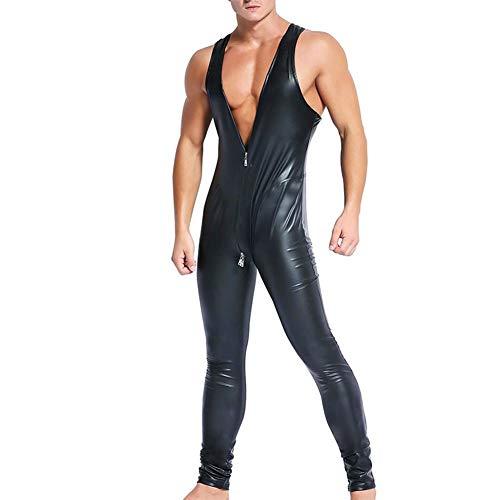 DJUYUAN Tuta da Uomo Wet Look Latex in Pelle Catsuit Senza Maniche Cerniera con Cavallo Aperto Costume Rosso e Nero