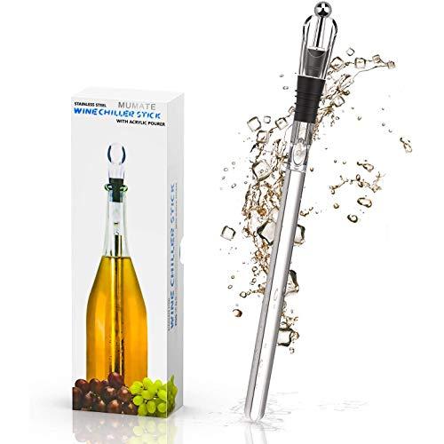 MUMATE Weinkühler, Lebensmittelqualität, Edelstahl, Weinkühler für Weinflaschen, mit Belüfter, Ausgießer, Stopfen, 4-in-1-Geschenkset für Wein