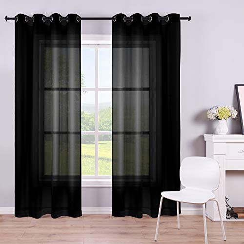 Black Sheer Curtains 84 Inches Long for Living Room Set of 2 Panels Grommet Window Drapes Semi Voile Modern Black Transparent Curtains for Bedroom 52x84 Inch Length