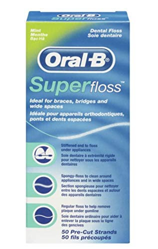 Oral-B Super Floss Mint Dental Floss for Braces Bridges - 50 Strips ( Packs 3 )