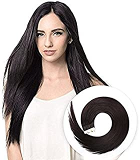 Tape in Human Hair Extensions 20 inches 20pcs 50g Silky Straight Human Hair Extensions Off Black Color