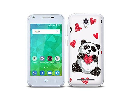 etuo Handyhülle für ZTE Blade L110 - Hülle Fantastic Case - Panda mit Herz - Handyhülle Schutzhülle Etui Case Cover Tasche für Handy