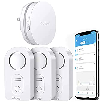 Govee WiFi Water Sensor 3 Pack 100dB Adjustable Alarm and App Alerts Leak and Drip Alert with Email for Home Basement