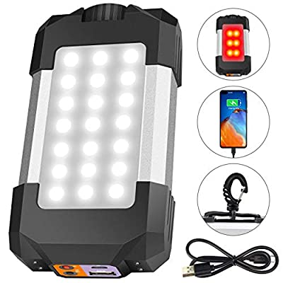 LED Camping Lantern - Emergency Lights with 6000mAh Power Bank & 1000LM, Suitable for Survival Kits for Hurricane, Storm, Outages, Outdoor Portable Rechargeable Tent Lamp with Handbag, Waterproof