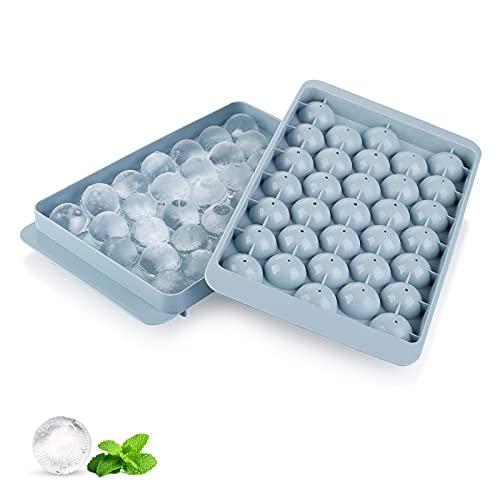 Cubitera y bandejas para cubitos de hielo, 47 compartimentos, de silicona, con tapa, ideal para whisky, cócteles y vino, sin BPA, color azul