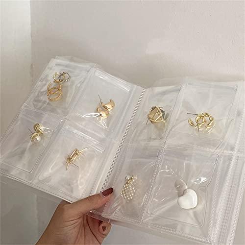 HEHUO Transparent Jewelry Storage Book, Jewelry Storage Bag Thicken Transparent Zip-Lock Bag,PVC Anti Tarnish Jewelry Zipper Bag, Cuadrícula: 160 Ranuras para Tarjetas + 50 Sobres sellados