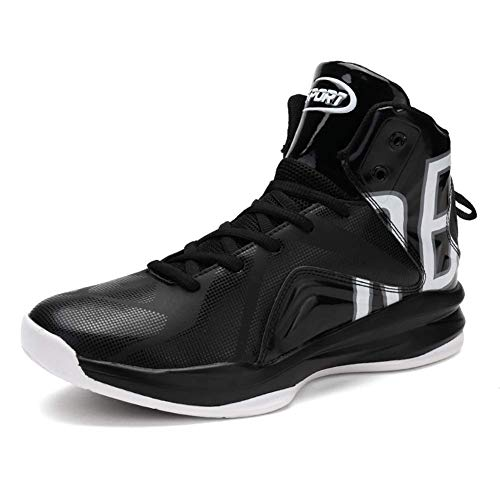 バスケットシューズ ジュニア ASHION ライトウエイト バスケットシューズ 滑り止め スポーツシューズ 耐久性のある スニーカー 快適で通気性のある スポーツ ランニングシューズ ジュニア ファッション メンズ (24.5cm, 黒と白)