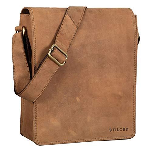 STILORD 'Lars' Vintage Messenger Bag Men for 13,3 inches Macbooks Cross Body Bag Vertical Satchel for A4 Documents Genuine Leather, Colour:Dijon - Brown