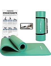 MSPORTS gymnastiekmat Premium incl. draagriem + oefenposter + workout app I huidvriendelijke fitnessmat 190 x 60 of 100 x 1,5 cm - versch. Ftalaatvrije yogamat.
