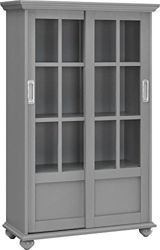 Ameriwood Home Altra Aaron Lane Bookcase with Sliding Glass Doors, Soft Gray
