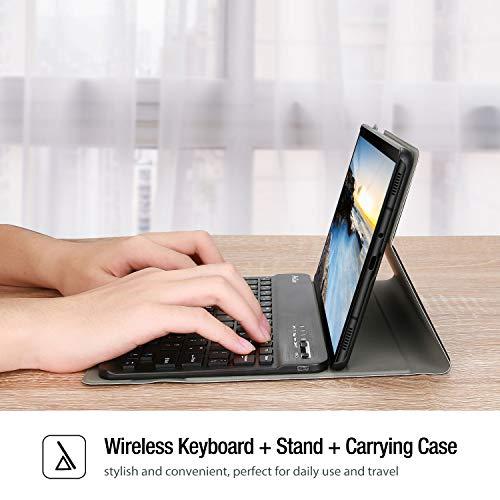ProCase US-Englisch Tastatur Hülle (QWERTY-US Layout) für Galaxy Tab A 8.0 2019 (SM-T290/T295/T297), Ultra Dünn Klappen Schutzhülle mit Magnet Abnehmbarer Kabellos Tastatur –Schwarz