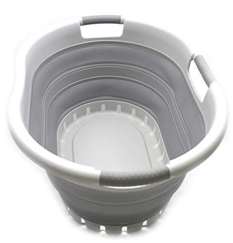 SAMMART - Cesta de lavandería Plegable de plástico con 3 manijas - Contenedor de Almacenamiento emergente Plegable - Tina de Lavado portátil - Cesta de Ahorro de Espacio (Gris/Gris)