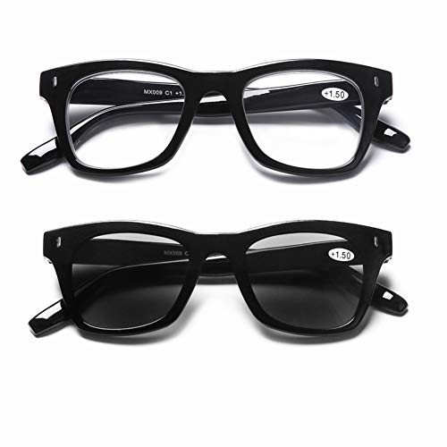 DOOViC Blaulichtfilter Lesebrille & Sonnenbrille Eckig Schwarze Rahmen Brille mit Stärke für Damen/Herrn 3,0