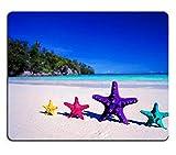Yanteng Alfombrilla de ratón de Caucho Natural Color de Las Estrellas de mar en la Playa de Arena Concepto de viaje3