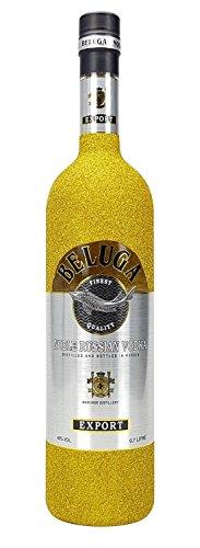 Beluga Vodka 0,7l 700ml (40% Vol) Bling Bling Glitzerflasche - gold -[Enthält Sulfite]