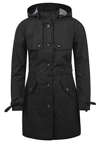 Desires Tina Giacca Trench Coat Transitorio da Donna con Cappuccio, Taglia:L, Colore:Black (9000)