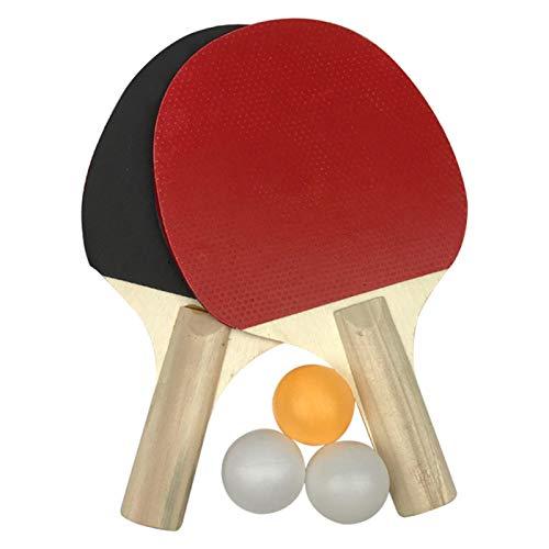 Juego de tenis de mesa, 2 murciélagos de tenis de mesa + 3 pelotas de pingpong, juego de raqueta de tenis de mesa para entrenadores, aficionados, principiantes, expertos (como se muestra)