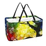 Bolsas reutilizables para comestibles, cesta de la compra, 50 l, con soporte para columna, bolsa de almacenamiento para árbol de arte